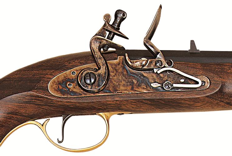 Křesadlová Pistole Kentucky - detail křesadlového zámku